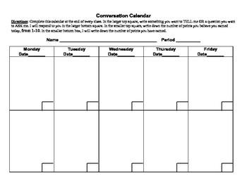 Conversation Calendar