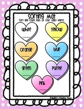 Conversation Candy Heart Math Pack - Sort, Graph, Measure - B&W & Color Versions