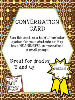 Conversation Card Freebie