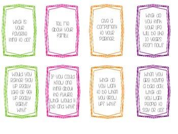Conversation Cards - Common Core Aligned