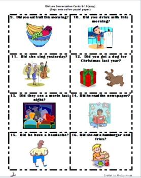 Conversation Cards- Did you...?  ESL