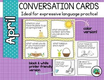 Conversation Cards/ Expressive Language Practice/ April