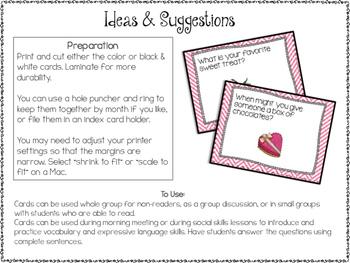 Conversation Cards/ Expressive Language Practice/ February