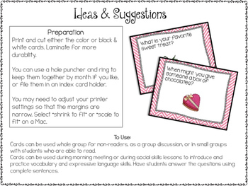 Conversation Cards/ Expressive Language Practice/ February