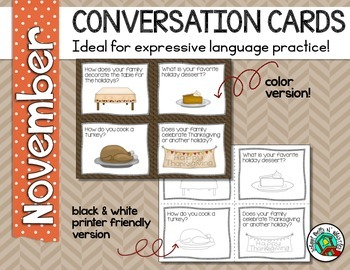 Conversation Cards/ Expressive Language Practice/ November/ Thanksgiving