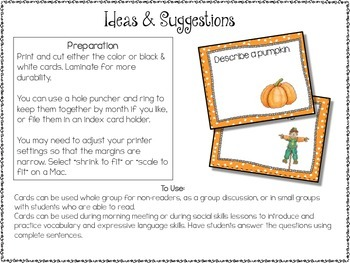 Conversation Cards/ Expressive Language Practice/ October/Fall