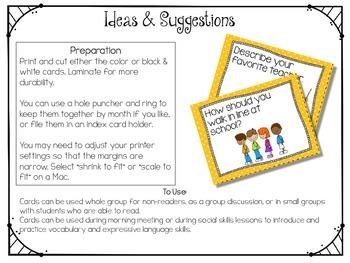 Conversation Cards/ Expressive Language Practice/ September/Back To School