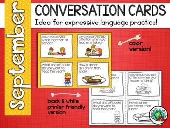 Conversation Cards/ Expressive Language Practice/ Septembe