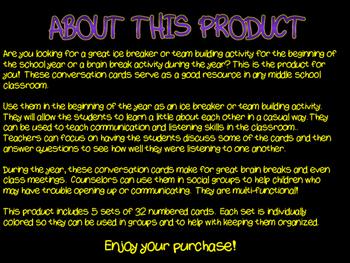 Conversation Cards: Ice Breaker, Team Building, Brain Breaks, & Social Groups