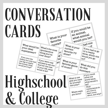 Conversation Cards Icebreaker for High School and College Students