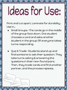 Conversation Cards- Icebreakers & Team builders