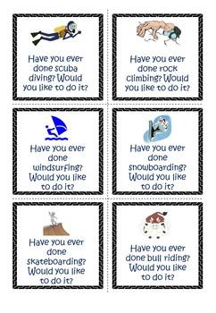 Conversation Cards Present Perfect + Dangerous Sports