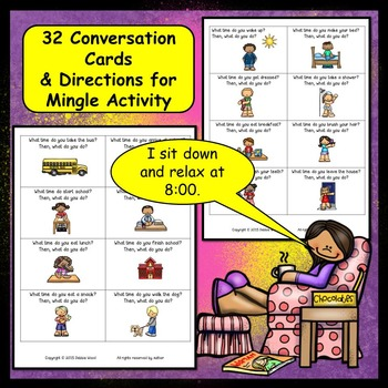 Conversation Cards:  Present Tense (Daily Routines)