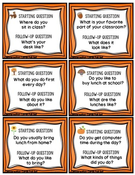 Conversation Cards and Comics, Fall Theme, Social Skills, Role Play, Friendship