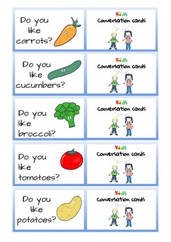 Conversation Cards for Kids - fruit and veg