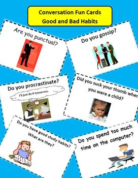 ESL Activities: Conversation Cards Good and Bad Habits