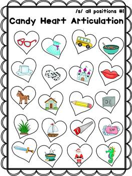 Conversation Heart Articulation Activity Freebie, Candy Heart Articulation