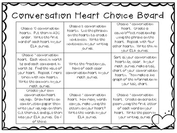 Conversation Heart Choice Board