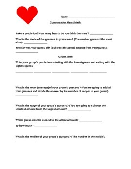VALENTINES DAY! Conversation Heart Graphing & Predictions