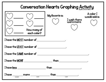 Valentines Day Conversation Heart Math Activities for Younger Students