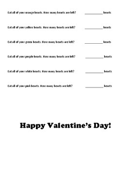 Conversation Heart Math Printable - Early Elementary