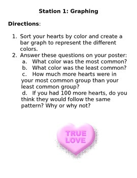 Conversation Heart Math Stations Grades 3-4