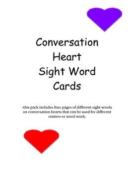 Conversation Heart Sight Words