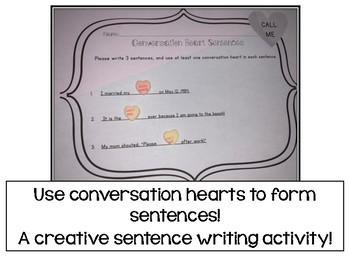 Conversation Heart Sentence Writing Activity