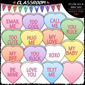 Conversation Hearts Clip Art (120 Pieces) - Valentine's Day