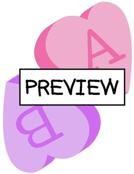 Conversation Hearts Alphabet Game