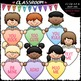 Conversation Hearts Clip Art & B&W Bundle (3 Sets)