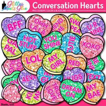 Conversation Hearts Clip Art | Cute Valentine's Day Graphics for Speech-Language