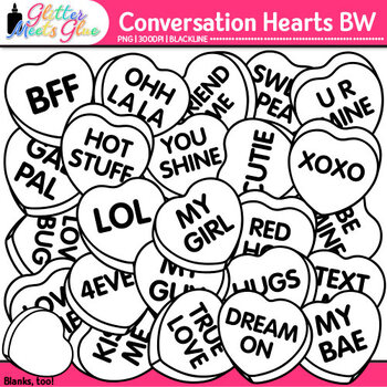 Conversation Hearts Clip Art | Great for Valentine's Day Worksheets| B&W