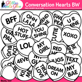 Conversation Hearts Clip Art: Valentines Day Graphics B&W