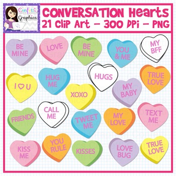 Conversation Hearts Clip Art Set Valentine's Day February Convo Hearts