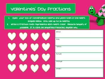 Conversation Hearts Fractions Valentines Activity
