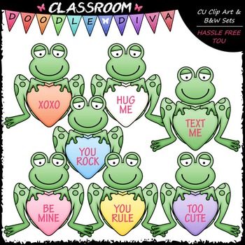 Conversation Hearts Frogs Clip Art - Valentine's Day Clip Art & B&W Set