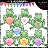 Conversation Hearts Frogs Clip Art - Valentine's Day Clip