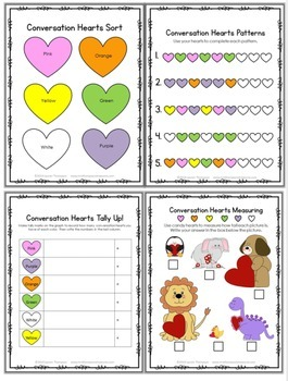 Conversation Hearts Fun Activity Pack - Graphing, Sorting, Patterns & More