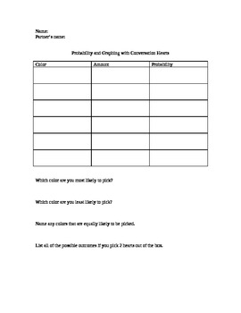 Conversation Hearts Graphing and Probability Worksheet