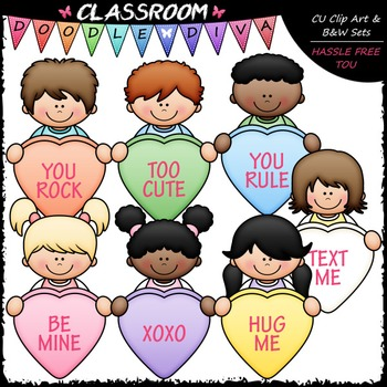Conversation Hearts Kids Clip Art - Valentine's Day