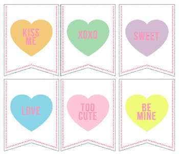 Conversation Hearts Pennant / Banner
