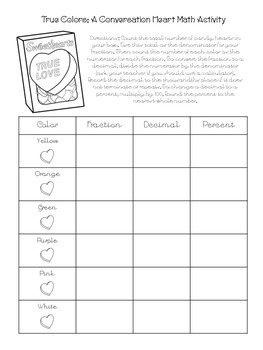 Conversation Hearts Valentine's Math Activity with Reading Passage