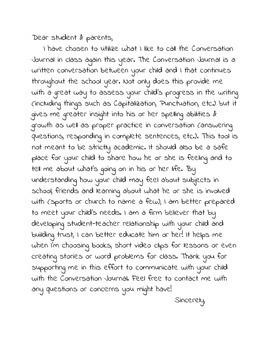 Conversation Journal Letter