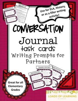 Conversation Journal - Task Card Writing Prompts for Partners