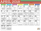 Conversation Level Articulation April 2018 Calendar
