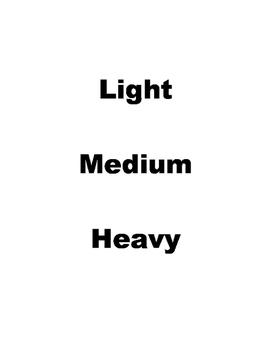 Conversation - Light - Medium - Heavy
