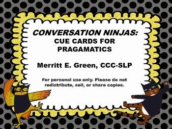 Conversation Ninjas: Cue Cards for Pragmatics