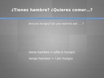 Conversation Practice: tiene hambre, sed, miedo