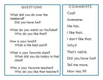 Conversation Questions with Follow-up for Middle School/High School